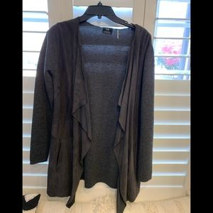 Suede front wool sweater  in smoke gray
